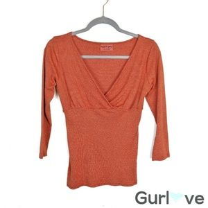 Michael Stars Orange V Neck Stretch Blouse Size OS